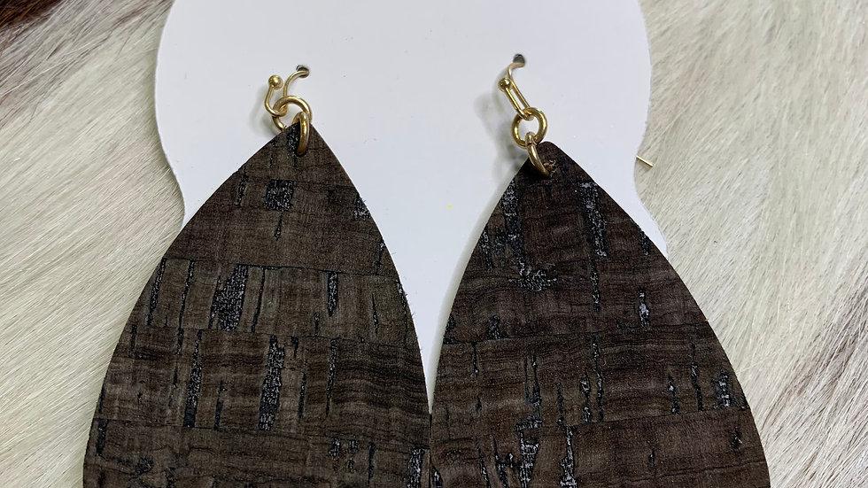 Dark Brown Cork Earrings
