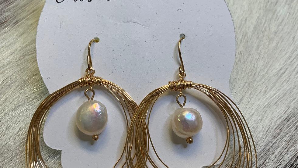 Gold/pearl Layered Earrings