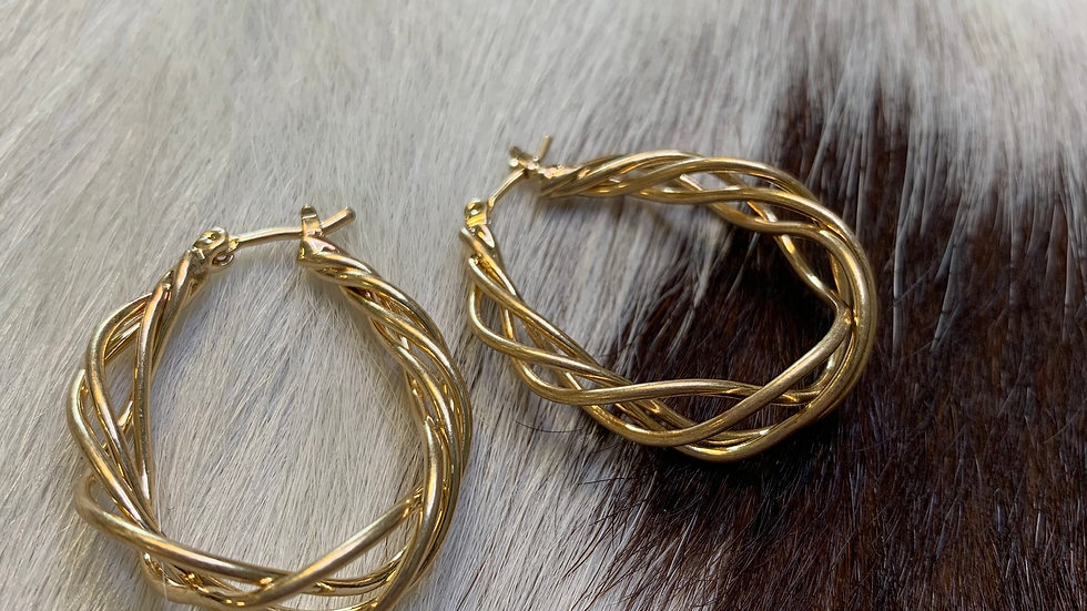 Gold Crisscross Hoops