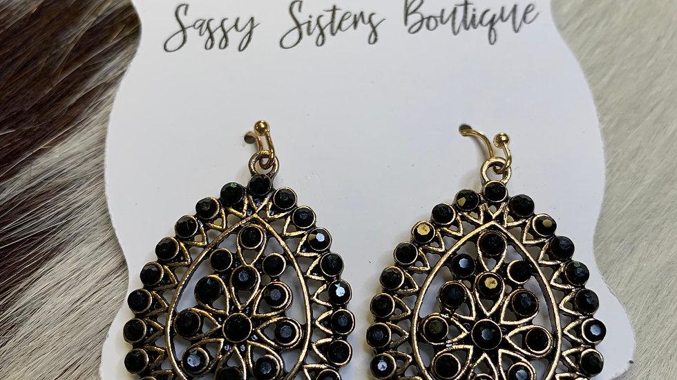 Black Studded Teardrop Earrings