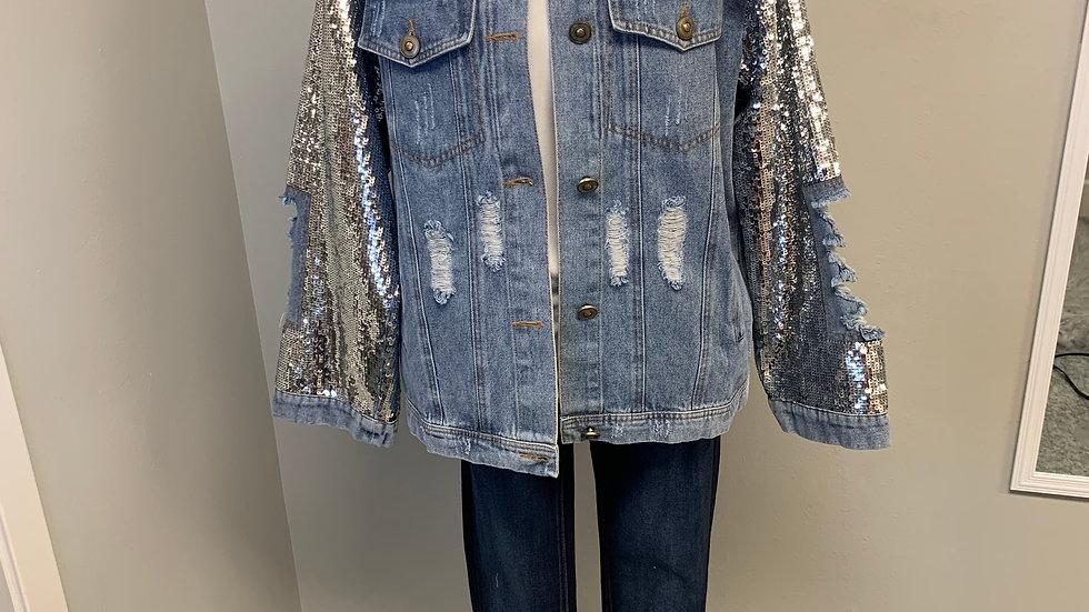 Denim Sequin Jacket