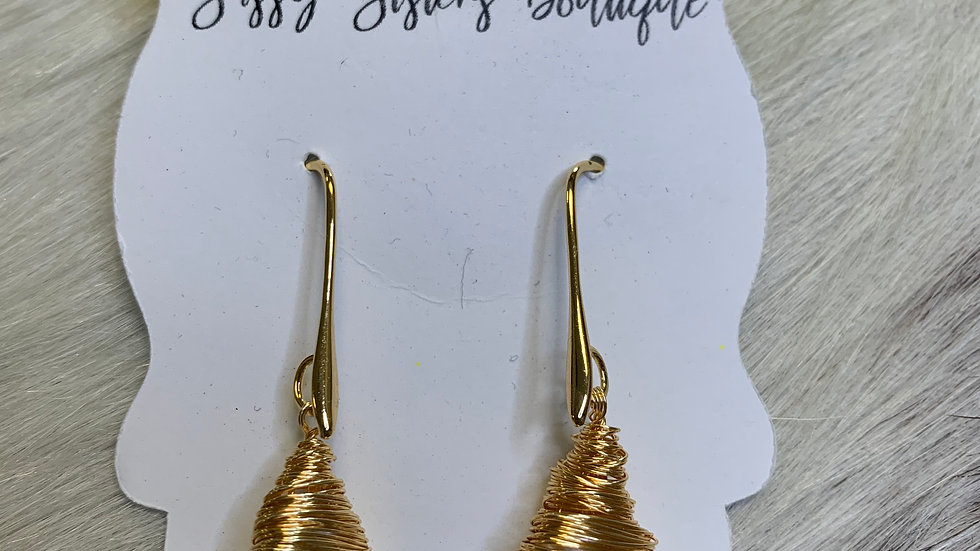 Gold/Pearl Wrapped Earrings