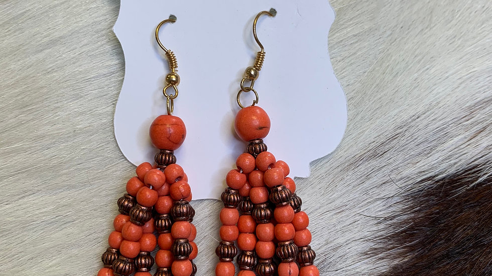 Orange Beaded Tassel Earrings