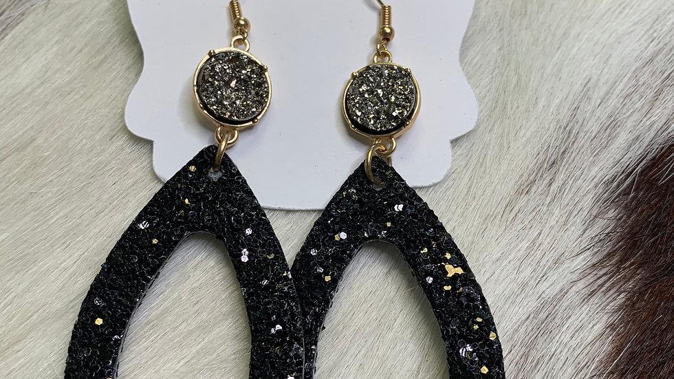 Black Sparkle/Stone Earrings