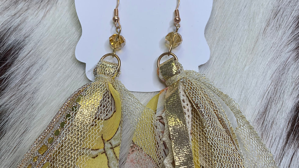 Yellow Floral Tassel Earrings