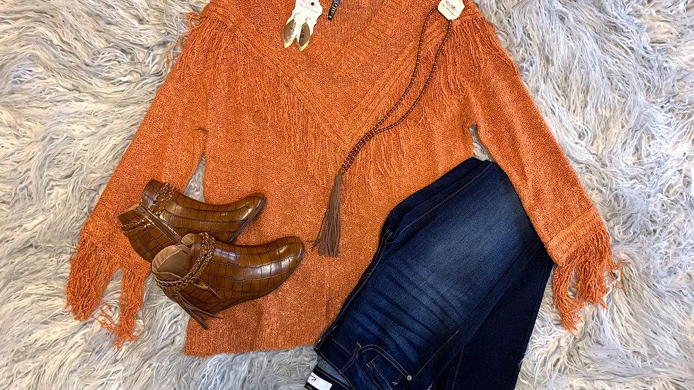 Fringe Sweater-Orange