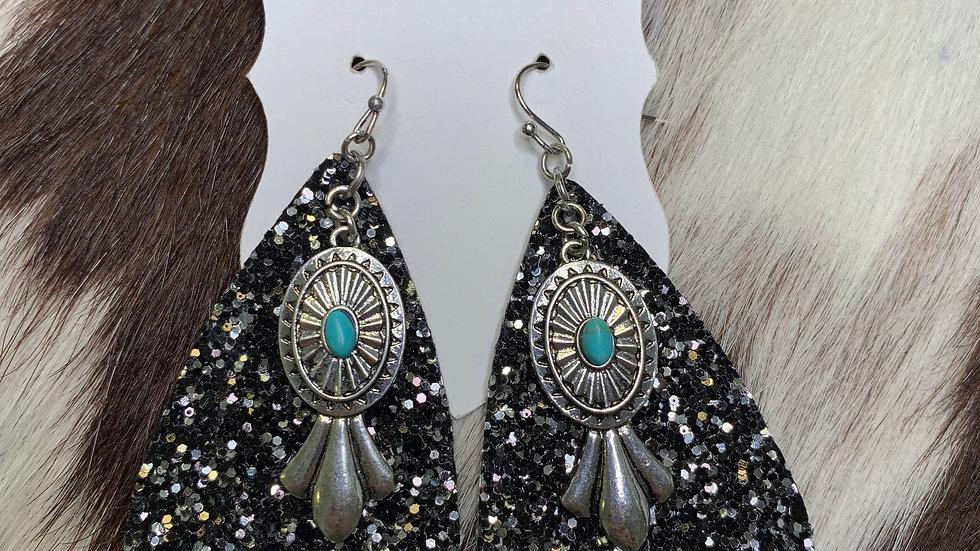 Tahoka Black Glitter Earrings