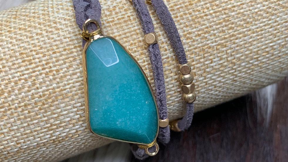 Braded Bracelet with Jade Stone