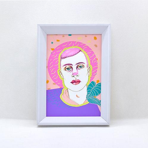 terrazzo boy -framed mini print