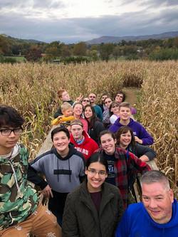 Teens at corn maze