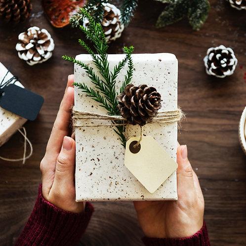 Geschenkverpackung mit Grußnachricht