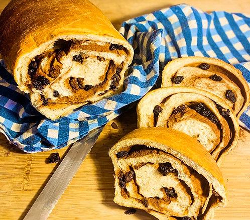 """Thursday, March 18th: Cinnamon Raisin Swirl Bread Loaf 9"""" loaf"""