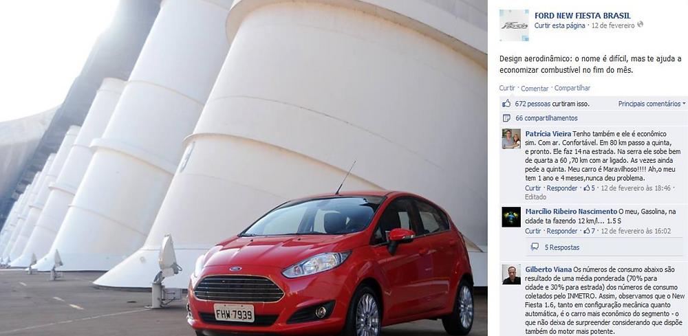 foto de uma campanha publicitária do carro New Fiesta