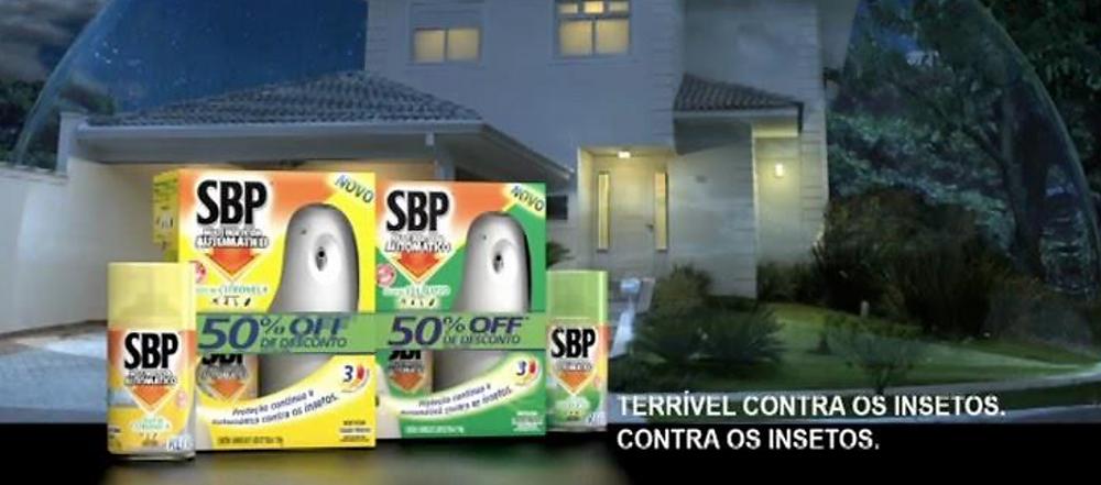 foto da campanha publicitária do produto SBP para matar baratas.