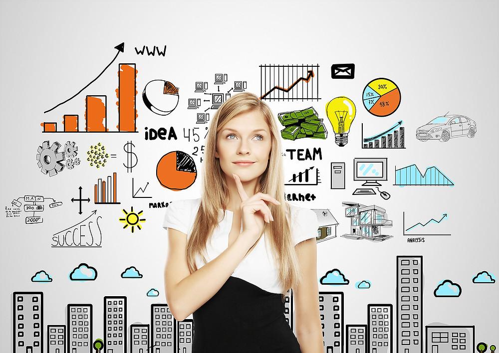 Uma foto ilustrativa cheia de ferramentas e dados e uma mulher pensativa com tantas informações