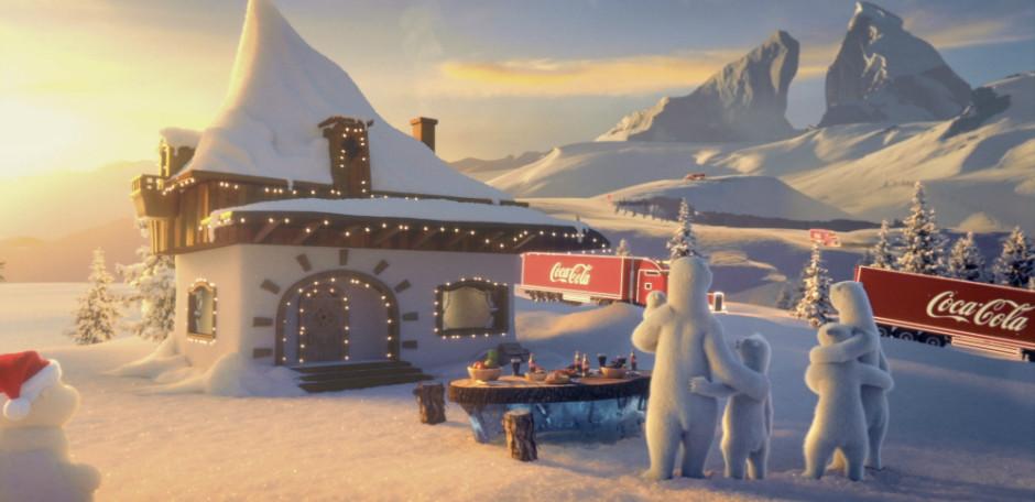 foto ilustrativa de campanha publicitária da Coca-Cola. Ursos polares numa bonita casa coberta de neve durante o Natal.