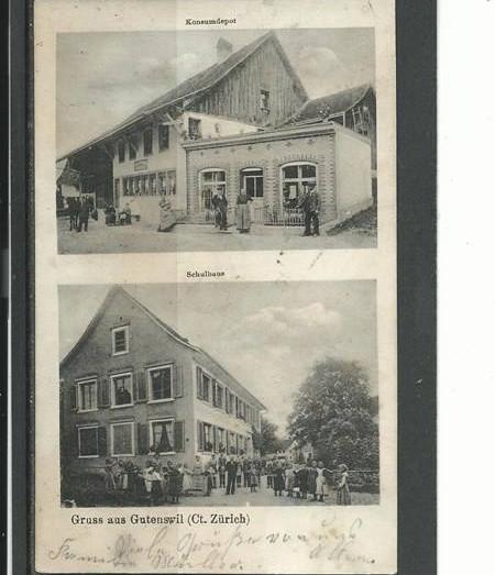 Altes Schulhaus und Laden im Backsteinlook an der Alten Schulhausstrasse, 1905