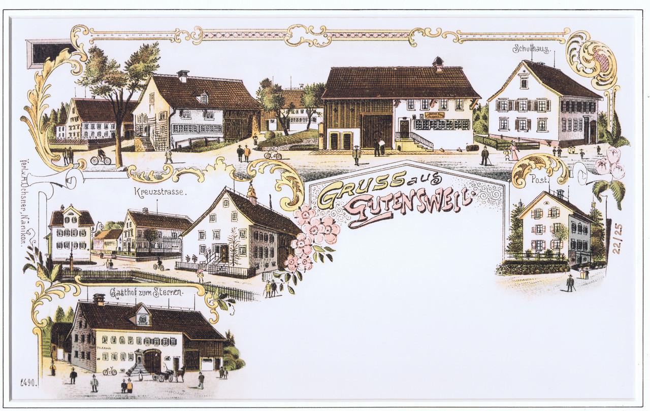 Postkarte Gutenswil, 1900