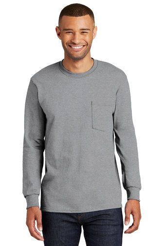 Port & Company® Tall Long Sleeve Essential Pocket Tee