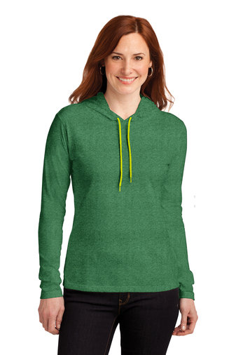 Anvil® Ladies 100% Combed Ring Spun Cotton Long Sleeve Hooded T-Shirt