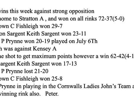 Results week ending 11th  July