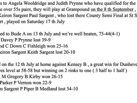 Results week ending 18th  July