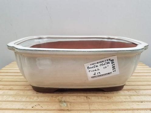 "P1062 Cream Glazed Rectangular Pot 10"""