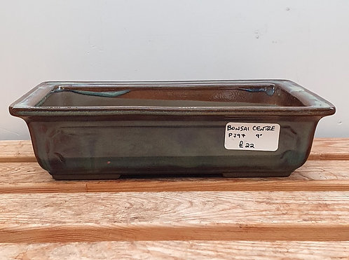 P797 Green Glazed Rectangular Pot 9""