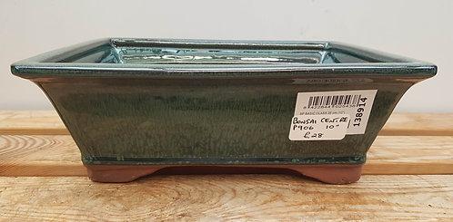 "P906 Green Glazed Rectangular Pot 10"""