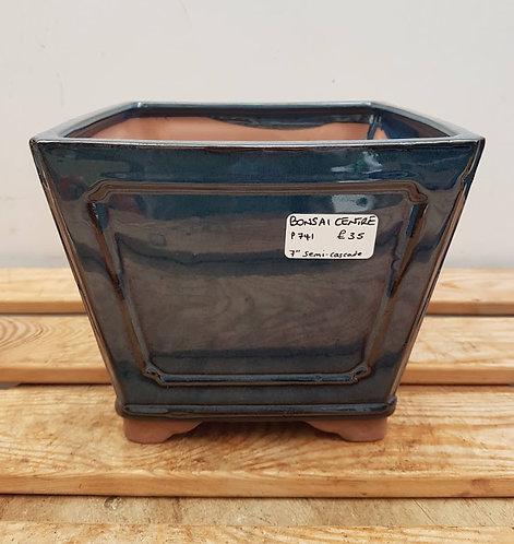 "P741 Blue Glazed Semi-Cascade Pot 7"""