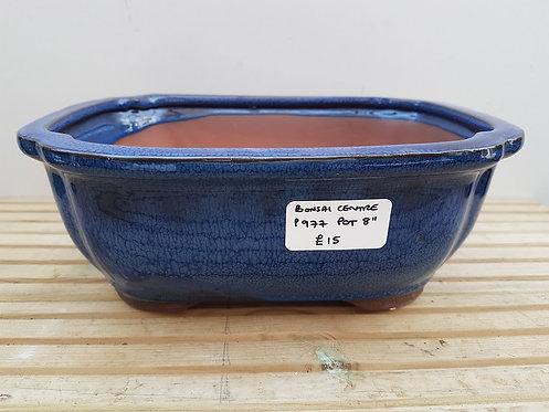 "P977 Blue Glazed Rectangular Pot 8"""