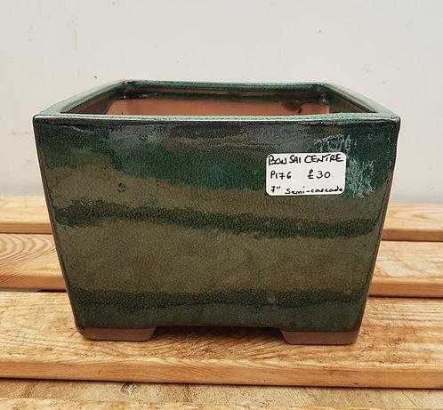 "P176 Green Glazed Semi-Cascade Pot 7"""