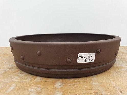 "P907 Unglazed Round Drum Pot 14"""