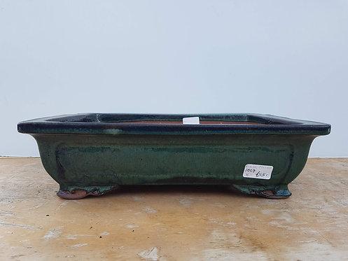 "P1027 Green Glazed Rectangular Pot 16"""