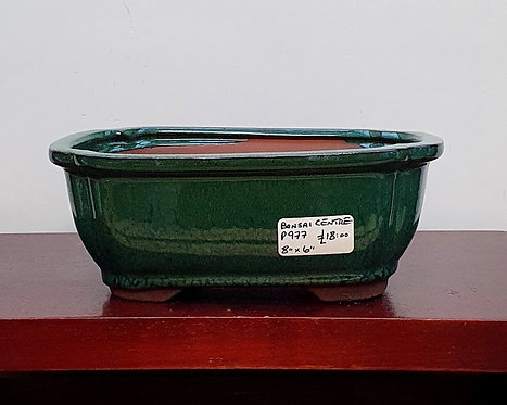 P977 Green Glazed Rectangular Pot 8""