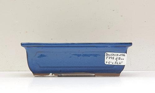 "P798 Blue Glazed Rectangular Pot 8"""