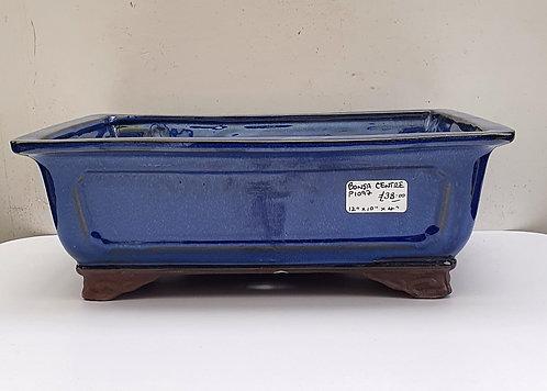 "P1097 Blue Glazed Rectangular Pot 12"""