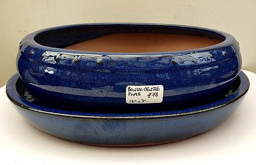 """P1098 Blue Glazed Round Pot 12"""" with ceramic tray"""