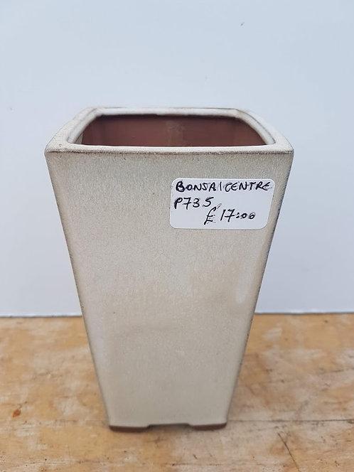 """P735 Cream Glazed Cascade Pot 6.5"""""""