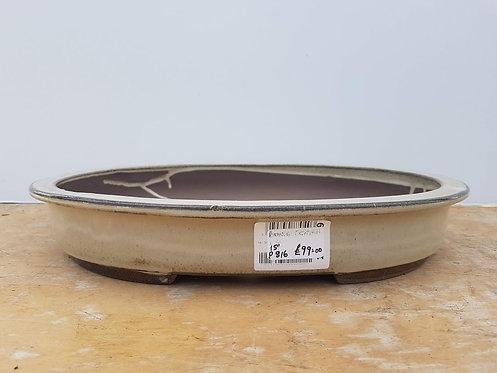 "P816 Cream Glazed Oval Pot 15"""