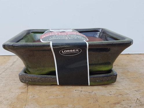 "P1034 Dark Green Glazed Rectangular Pot 6"""