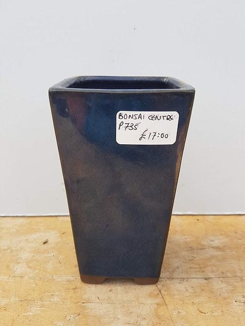 "P735 Blue Glazed Cascade Pot 6.5"""