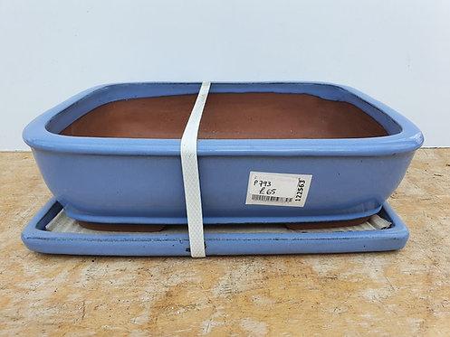 "P793 Blue Glazed Rectangular Pot 14"""