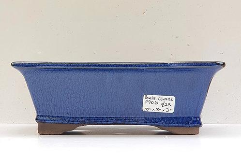 "P906 Blue Glazed Rectangular Pot 10"""