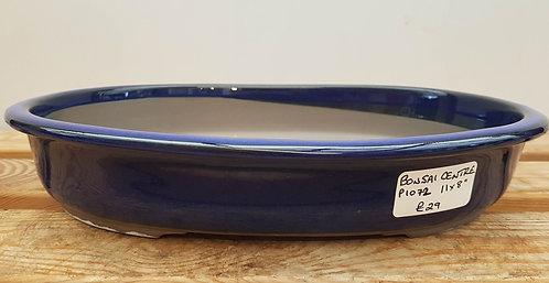 """P1072 Blue Glazed Oval Pot 11"""""""