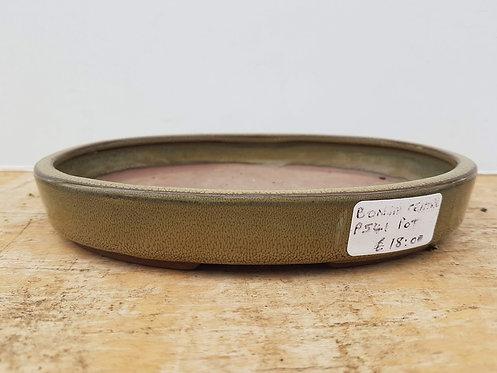 """P541 Green Glazed Oval Pot 8"""""""