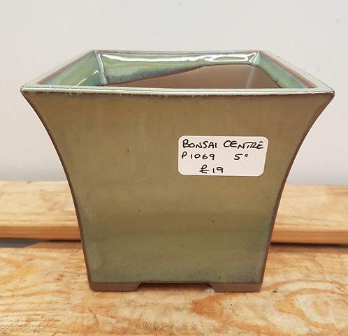 "P1069 Green Glazed Semi-Cascade Pot 5"""