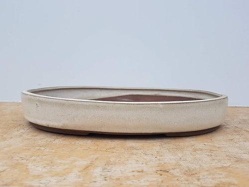 "P539 Cream Glazed Oval Pot 12"""