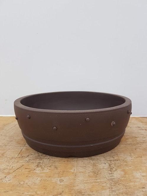 "P966 Unglazed Round Drum Pot 8"""