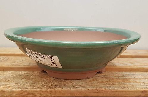 "P1077 Green Glazed Round Pot 9.5"""